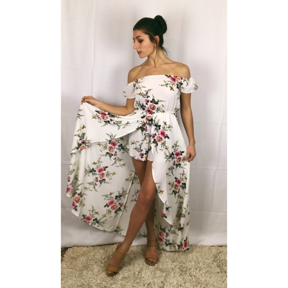 d32aae87bd Forever 21 White Floral Romper Maxi Dress NWT